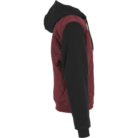 Urban Classics Hooded Diamond Quilt Nylon Jacket, burgundy/black