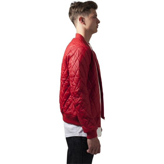 Urban Classics Diamond Quilt Leather Imitation Jacket, fire red