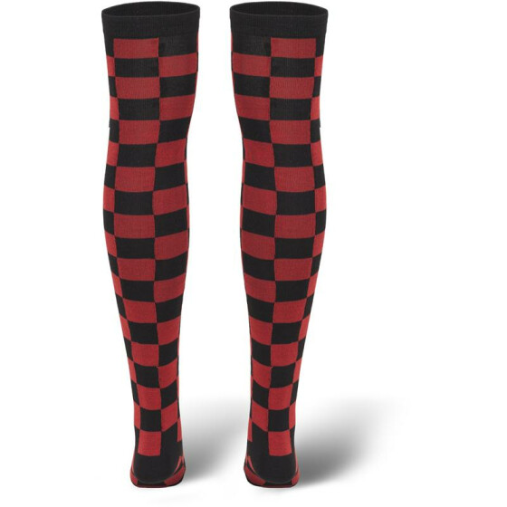 Urban Classics Ladies Checkerboard Overknee Socks, blk/red