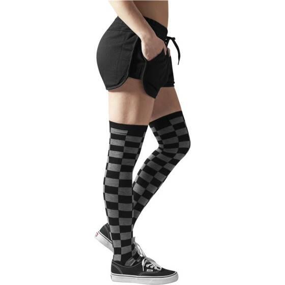 Urban Classics Ladies Checkerboard Overknee Socks, blk/cha