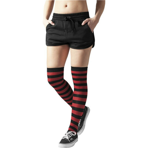 Urban Classics Ladies Striped Socks, blk/red