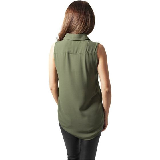 Urban Classics Ladies HiLo Sleeveless Blouse, lightolive