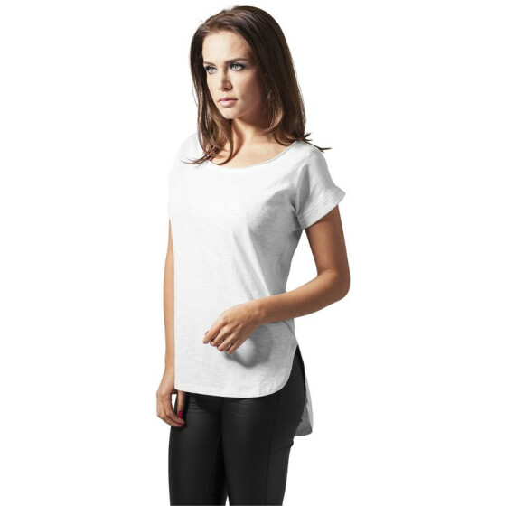 Urban Classics Ladies Long Back Shaped Slub Tee, white
