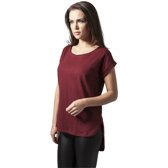 Urban Classics Ladies Long Back Shaped Slub Tee, burgundy