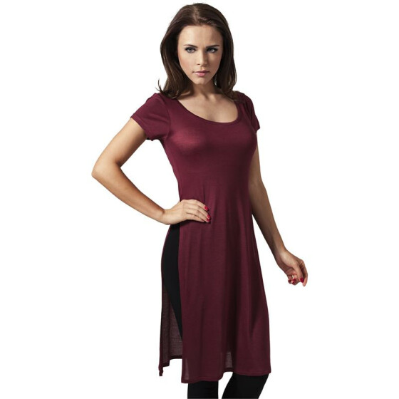 Urban Classics Ladies Side Slit Viscose Long Tee, burgundy