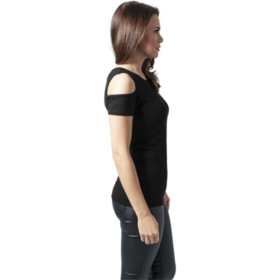 Urban Classics Ladies Cutted Shoulder Tee, black