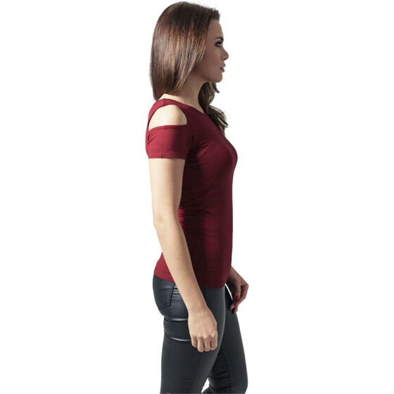 Urban Classics Ladies Cutted Shoulder Tee, burgundy