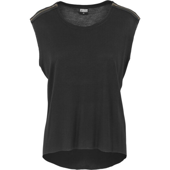 Urban Classics Ladies Shoulder Zip HiLo Tee, black