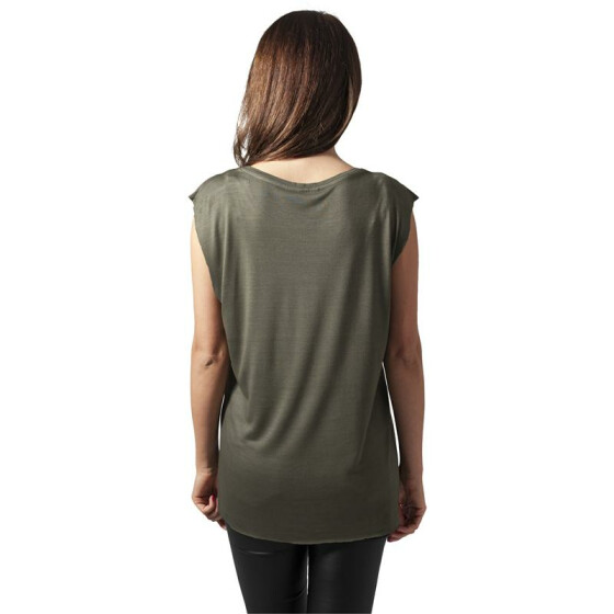 Urban Classics Ladies Shoulder Zip HiLo Tee, olive