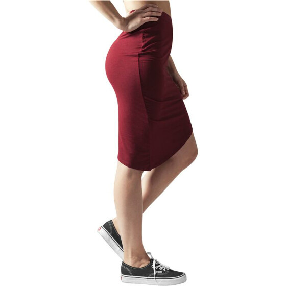 Urban Classics Ladies Asymetric Viscose Skirt, burgundy