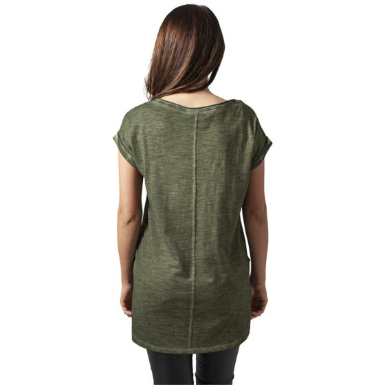 Urban Classics Ladies Long Back Shaped Spray Dye Tee, olive