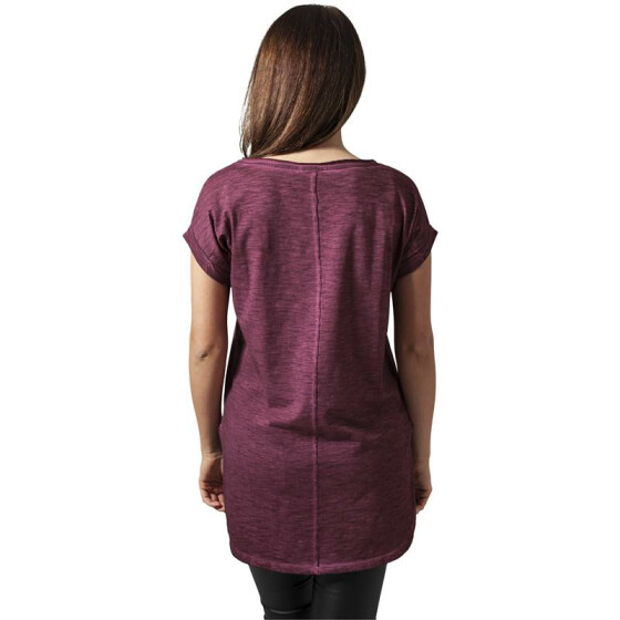 Urban Classics Ladies Long Back Shaped Spray Dye Tee, burgundy