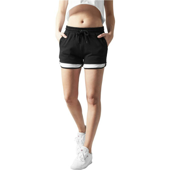Urban Classics Ladies Terry Mesh Hotpants, blk/wht