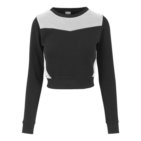 Urban Classics Ladies Cropped Mesh Terry Crew, blk/wht