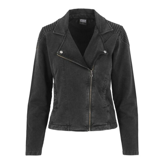 Urban Classics Ladies Acid Wash Terry Biker Jacket, darkgrey