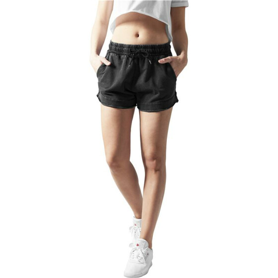 Urban Classics Ladies Acid Wash Terry Hotpants, darkgrey