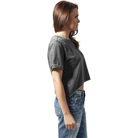 Urban Classics Ladies Cropped Burnout Short Sleeve Crew, darkgrey