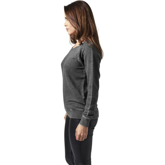 Urban Classics Ladies Burnout Open Edge Crew, darkgrey