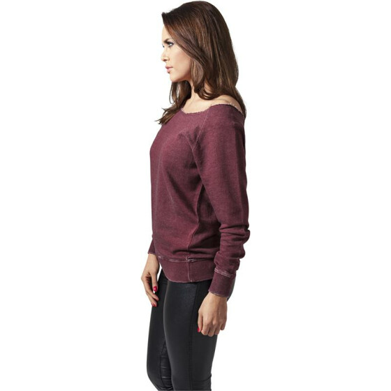 Urban Classics Ladies Burnout Open Edge Crew, burgundy
