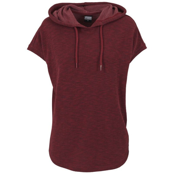 Urban Classics Ladies Melange Sleeveless Terry Hoody, burgundy
