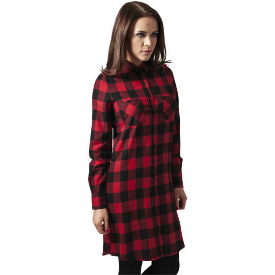 Urban Classics Ladies Checked Flanell Shirt Dress, blk/red