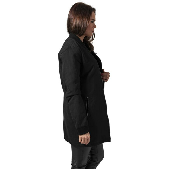 Urban Classics Ladies Peached Long Bomber Jacket, black