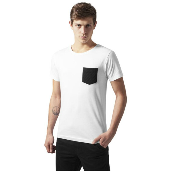 Urban Classics Quilted Pocket Tee, wht/blk