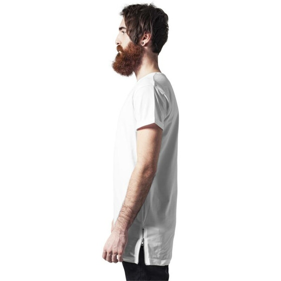Urban Classics Long Shaped Side Zip Tee, white