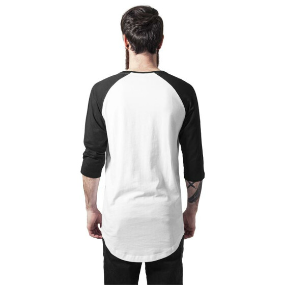 Urban Classics Long Raglan 3/4 Sleeve Pocket Tee, wht/blk