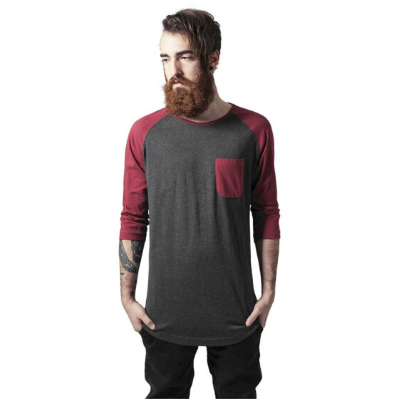 Urban Classics Long Raglan 3/4 Sleeve Pocket Tee, cha/burgundy