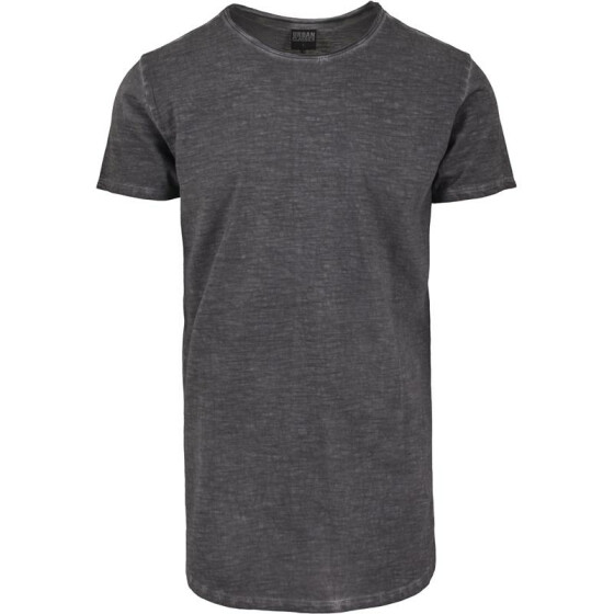 Urban Classics Long Back Shaped Spray Dye Tee, darkgrey