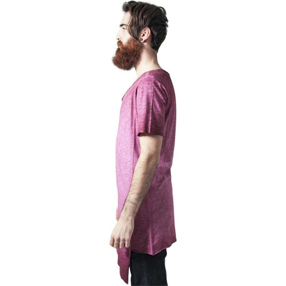 Urban Classics Asymetric Long Spray Dye Tee, burgundy