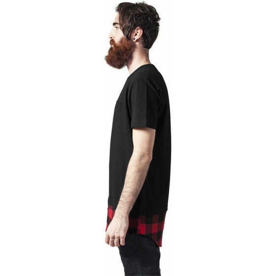 Urban Classics Long Shaped Flanell Bottom Pocket Tee, blk/blk/red