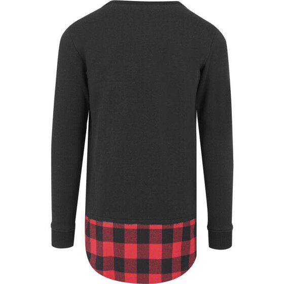 Urban Classics Long Flanell Bottom Open Edge Crewneck, blk/blk/red