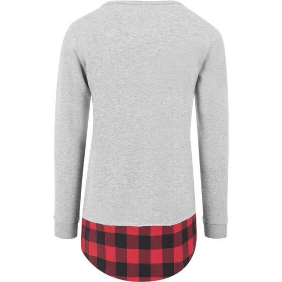 Urban Classics Long Flanell Bottom Open Edge Crewneck, gry/blk/red