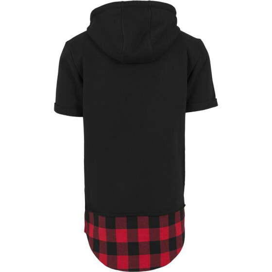 Urban Classics Peached Flanell Bottom Sleeveless Hoody, blk/blk/red