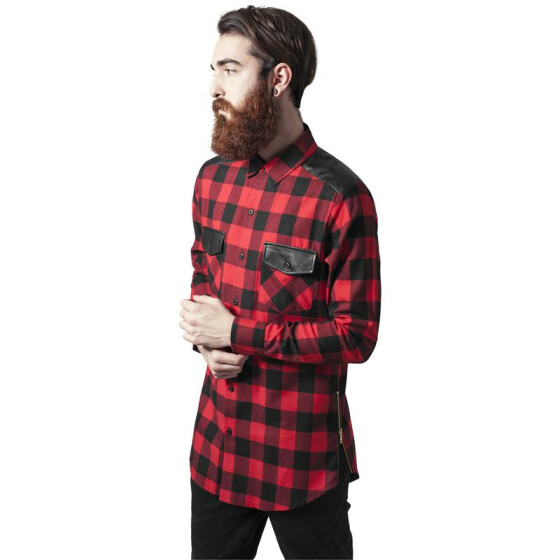 Urban Classics Side Zip Leather Shoulder Flanell Shirt, blk/red