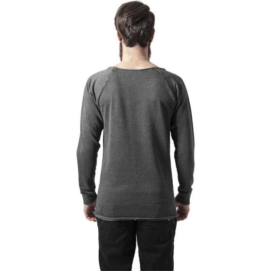 Urban Classics Long Burnout Open Edge Crewneck, darkgrey