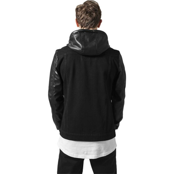 Urban Classics Hooded Denim Leather Imitation Jacket, blk/blk