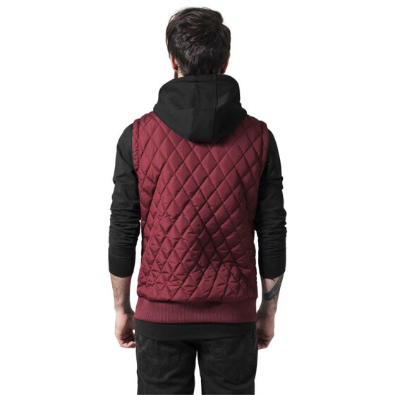 Urban Classics Diamond Quilted Hooded Vest, burgundy/black