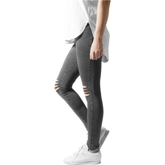 Urban Classics Ladies Cutted Knee Leggings, acid black