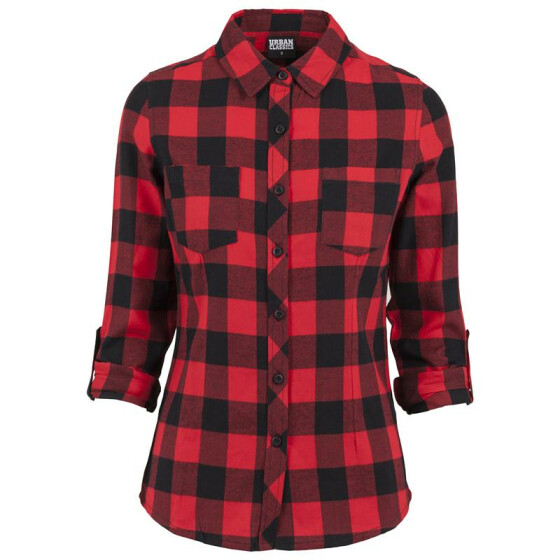 Urban Classics Ladies Turnup Checked Flanell Shirt, blk/red