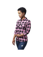 Urban Classics Ladies Turnup Checked Flanell Shirt, blk/rose