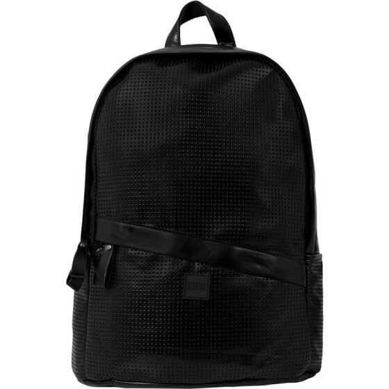 Urban Classics Perforated Leather Imitation Backpack, black