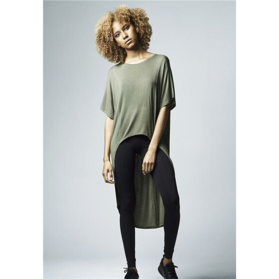 Urban Classics Ladies Viscose Oversized HiLo Tee, olive