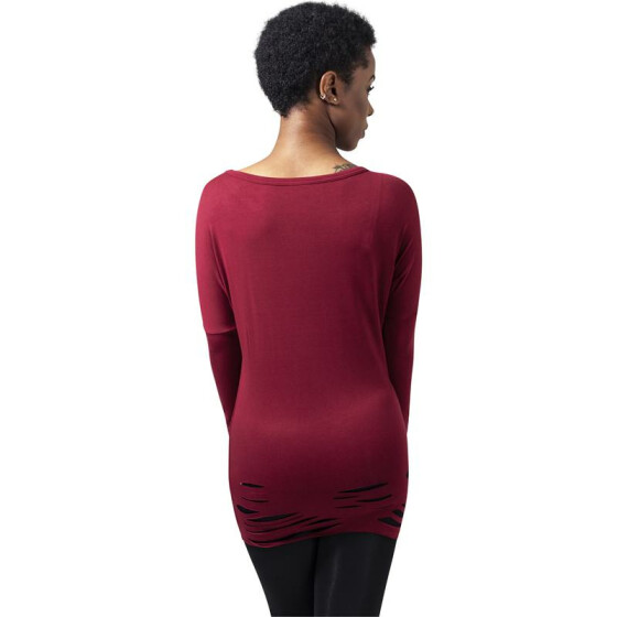 Urban Classics Ladies Cutted Viscose L/S Tee, burgundy