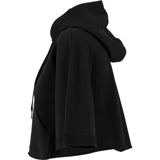 Urban Classics Ladies Cropped Hooded Poncho, black