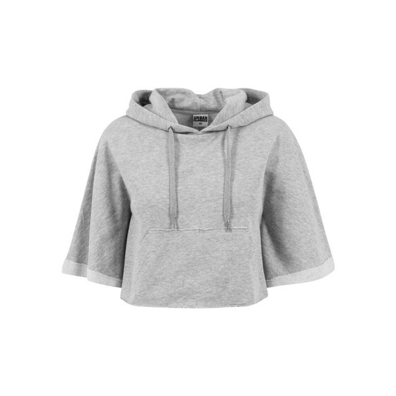 Urban Classics Ladies Cropped Hooded Poncho, grey