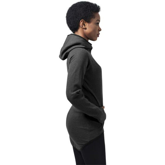 Urban Classics Ladies Athletic Interlock Zip Hoody, charcoal