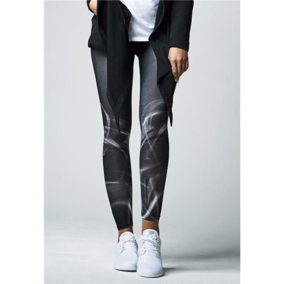 Urban Classics Ladies Smoke Leggings, blk/wht
